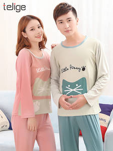 Couple Pajamas Sleepwear Suit Women's Autumn Casual Mujer Large-Size Hombre