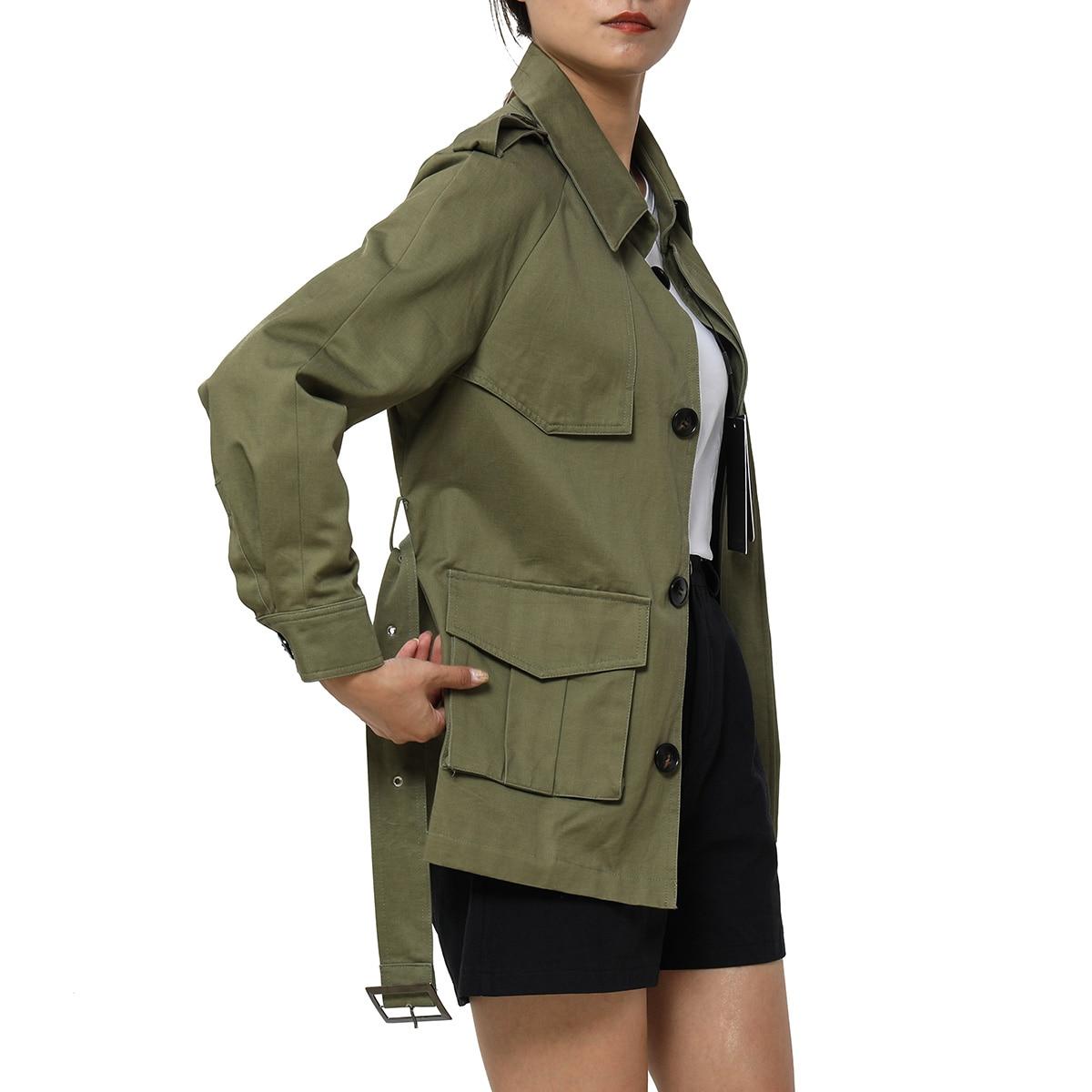 Jastie   Trench   Coat Top Women Single Breasted Short Coats 2019 Fashion Streetwear Outerwear Tops Overcoat Casual Windbreaker