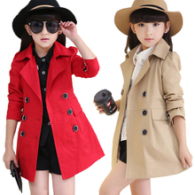 Jacket Outerwear Trench-Coats Windbreaker Girls Children Autumn Winter Clothing Button