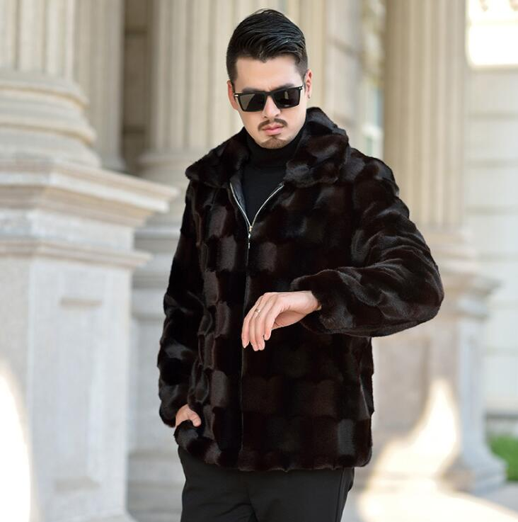 Risvolto Autunno visone del faux giacca di pelle mens di inverno addensare caldo cappotto di pelle pelliccia degli uomini di sottile giacche jaqueta de couro nero 964 - 2