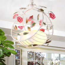 European Rustic Rural Light Up Flower Pendant Light Fixtures Kitchen Island Hanging Lights Lamp For Dining Room Table Restaurant(China)