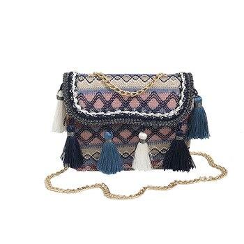 Weave Tassel Handbag Women Designer Bag Retro Lady Small Embroidery Tassels Shoulder Straw Girls Crossbody Bags