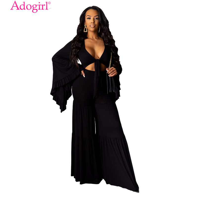 Adogirl Plus Size S-3XL Solid Women Fashion Sexy Two Piece Set Ruffle Big Bell Sleeve Front Tie Neck Crop Top Flare Pants Suit