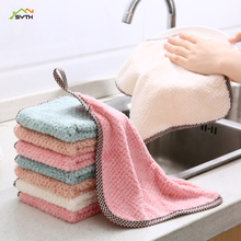 High quality creative cute kitchen supplies scouring pad thickened dish cloth reusable coral velvet hanging cleaning