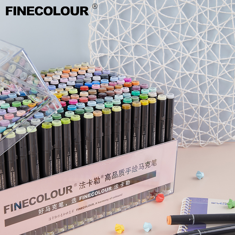 Finecolour Art Marker/Plastic Portable Hard Box Pen EF100/101/102/103 160/240/480 Colors Double-Headed Brush Alcohol Oily Marker