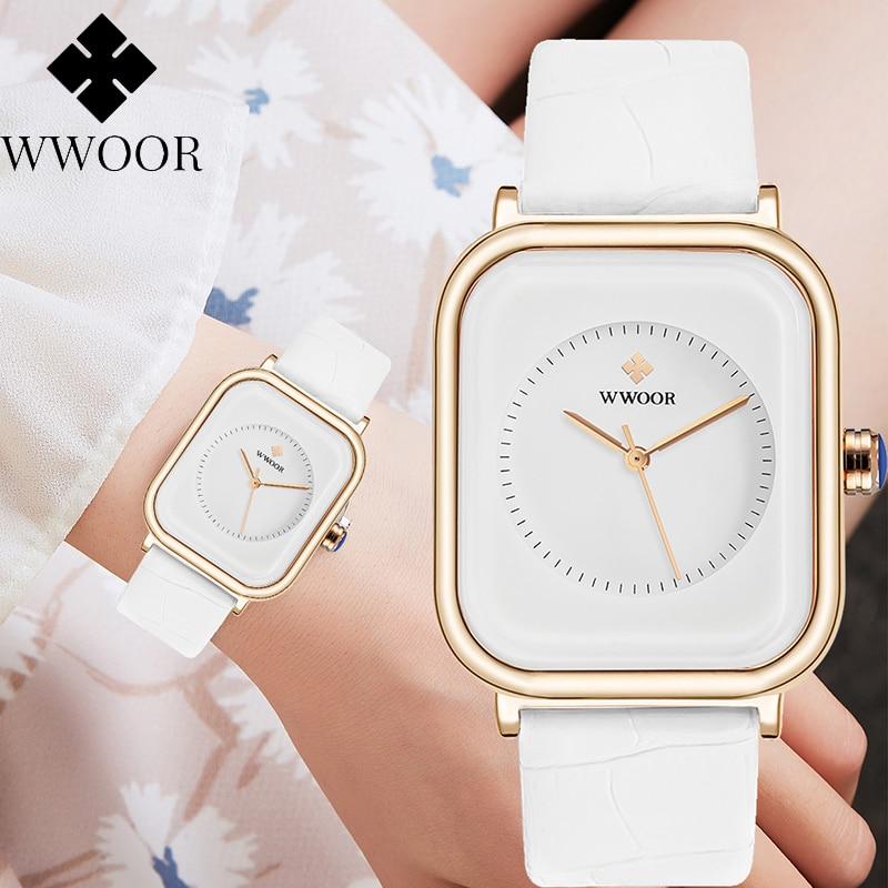 2021 WWOOR женские часы, модные белые квадратные наручные часы, простые женские брендовые Роскошные повседневные часы с кожаным ремешком, женск...