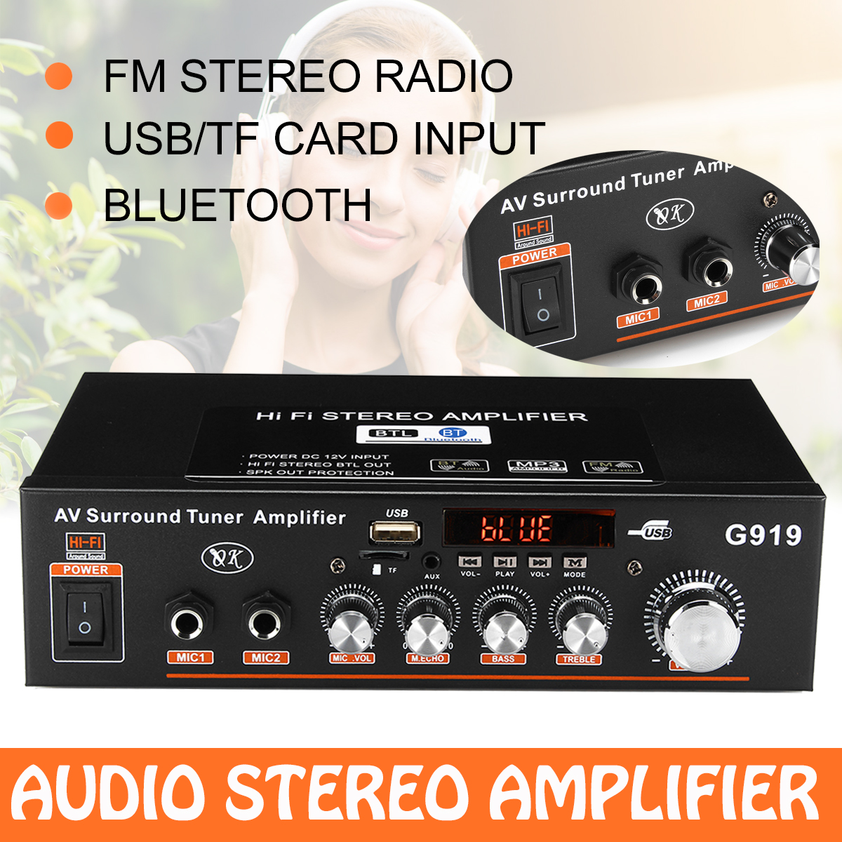 12V// 220V 2CH HIFI Audio Stereo Power Amplifier Bass bluetooth FM Radio Car Home