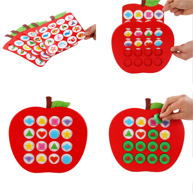 Early Education 3D Puzzle Toys Kids Wooden Apple Memory Matching Chess Game Family Casual Games Puzzle