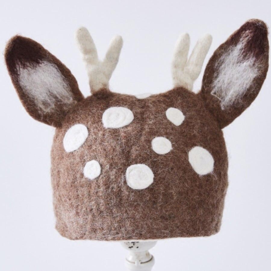 Retro Dot Gewei Oor Wol Baret Hoed Vrouwen Winter Warm Koreaanse Fashion Handgemaakte Hoeden Literaire Meisje Dier Hoofddeksels Caps Kerst - 3