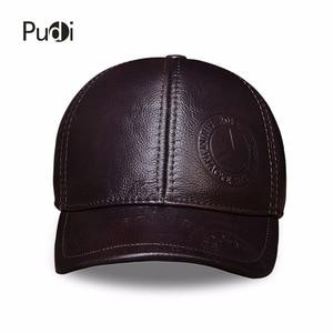 Image 3 - HL023 Spring genuine leather men baseball cap hat  high quality mens real leather adult solid adjustable snapback earsflap hats