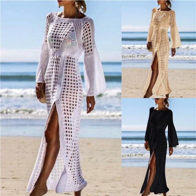 2020 Crochet Tunic Beach Dress Cover ups Summer Women Beachwear Sexy Hollow Out Knitted Swimsuit Cover Up Robe de plage #Q716