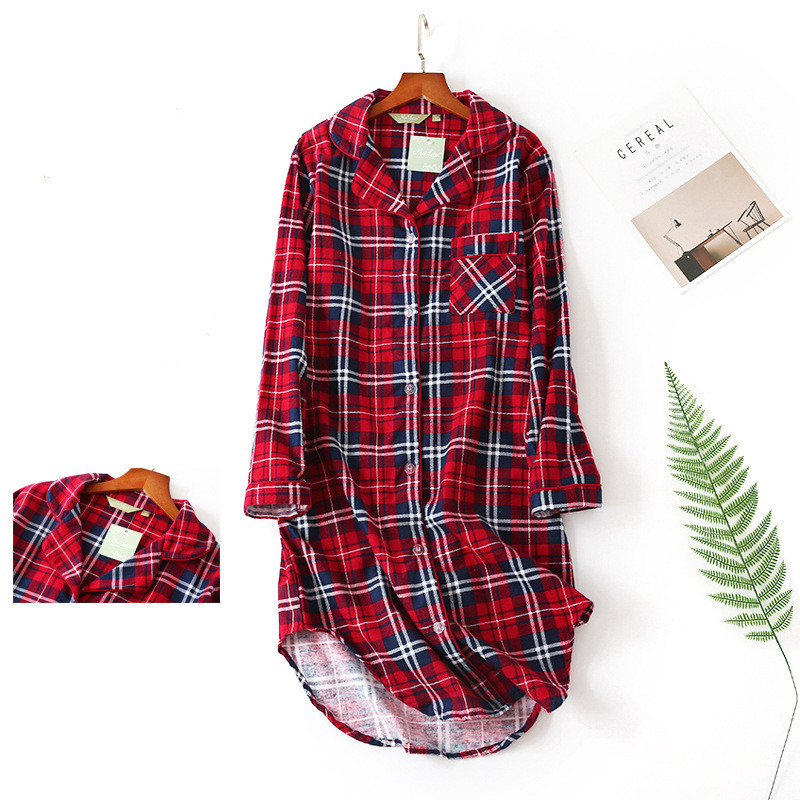 Shirt Sleepwear Women Sexy Plaid 100% Cotton Homewear Big Size   Long Sleeve V-Neck Nightdress Fashion Clothes Vintage Pjs