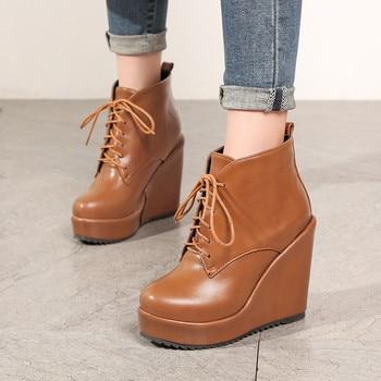 2018 Autumn Winter Punk Gothic Lace Up Ankle Boots Women Shoes Black Yellow High Heels Wedges Platform Boots Plus Size