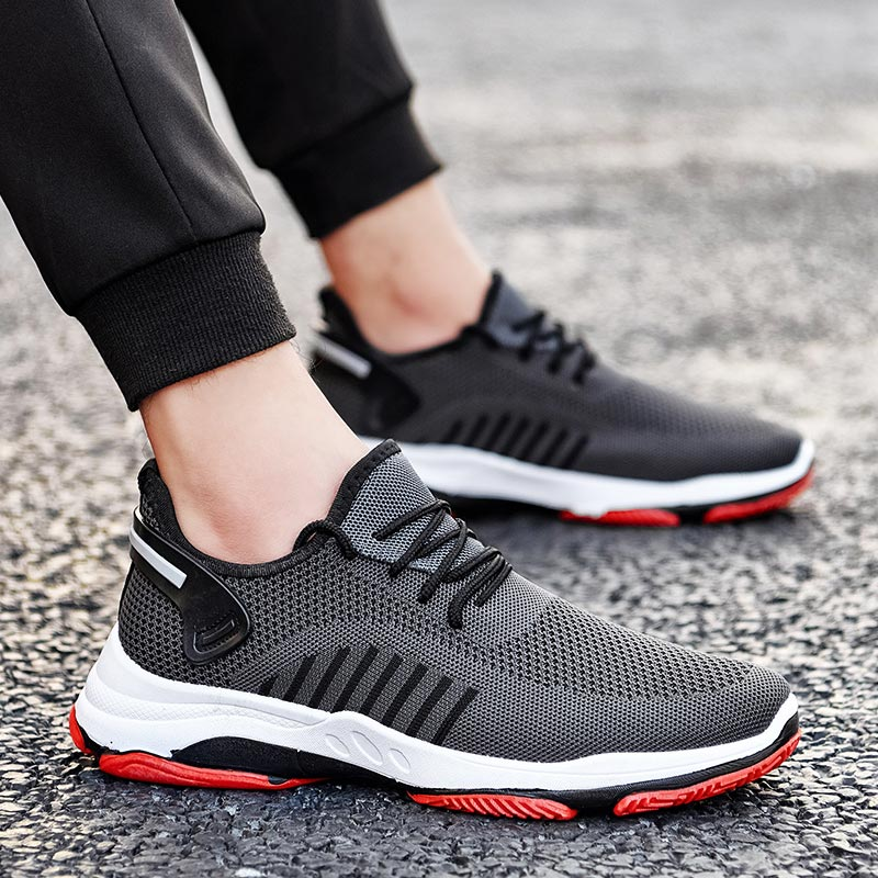 Summer Mesh Mens Sneakers Man Running Shoes Shoes Sport Male Sports Shoes Tennis Men's Breathable Black Gray Runners Gym E-365