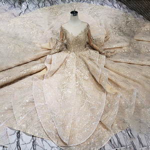 Image 5 - HTL151 golden puffy evening dress tulle o neck long sleeves special puffy skirt women occasion dress court train custom size