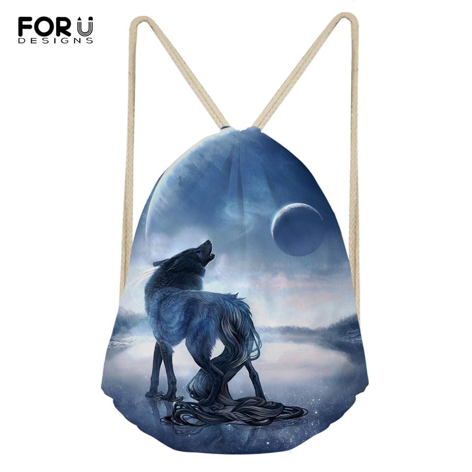Дорожные сумки FORUDESIGNS для мужчин и женщин, мужская обувь с рисунком «фантазийный волк», дизайнерский дорожный ранец с карманами и мультяшны...