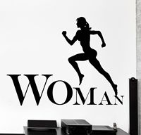 Woman Lettering Wall Decal Running Jogging Sport Fitness Cool Vinyl Window Glass Sticker Living Room Bedroom Home Decor