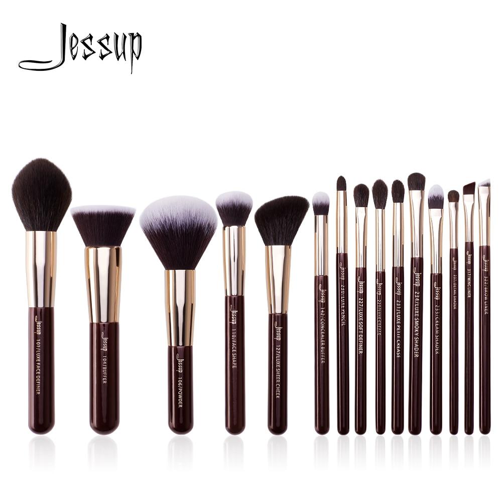 Набор кистей для макияжа Jessup, 15 шт., Профессиональная Кисть для макияжа, пудра, тени для век, подводка для основы, румяна, растушевка, Zinfandel/зол...