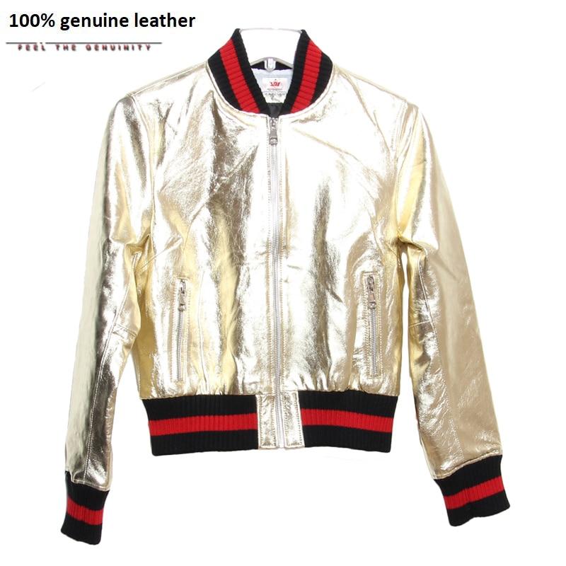 Factory Sliver Golden Genuine Leather Jacket Women Leather Coat 100% Sheepskin Jacket Real Leather Jacket For Women Autumn ZH088