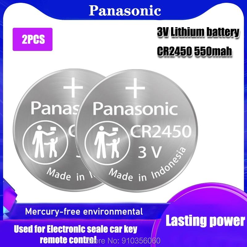 2 шт., щелочные кнопочные батарейки Panasonic 3 в CR2450 CR 550 ECR2450 KCR2450 5029LC LM2450 DL2450 BR2450, 2450 мАч
