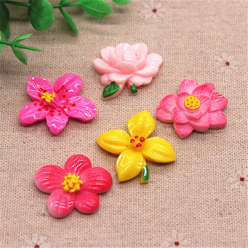 10pcs Cute New Hand Painting Resin Flower FlatBack Cabochon DIY Phone Hair Clip Decoration