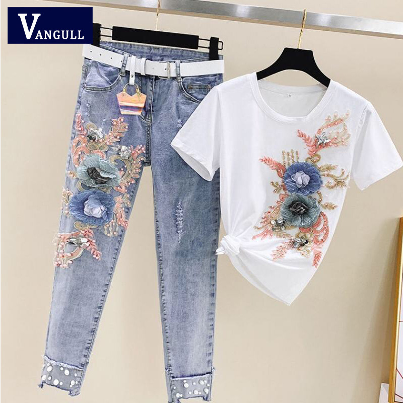 Vangull New Women Heavy Work Embroidery 3D Flower Tshirts + Jeans 2 Pcs Clothing Sets Summer Casual Denims 2 Clothing Suits Sets