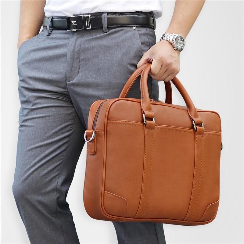 "Black Brown Genuine Leather Office Men Briefcase Messenger Bags Real Skin Business Travel Bag 14"" Laptop Portfolio"