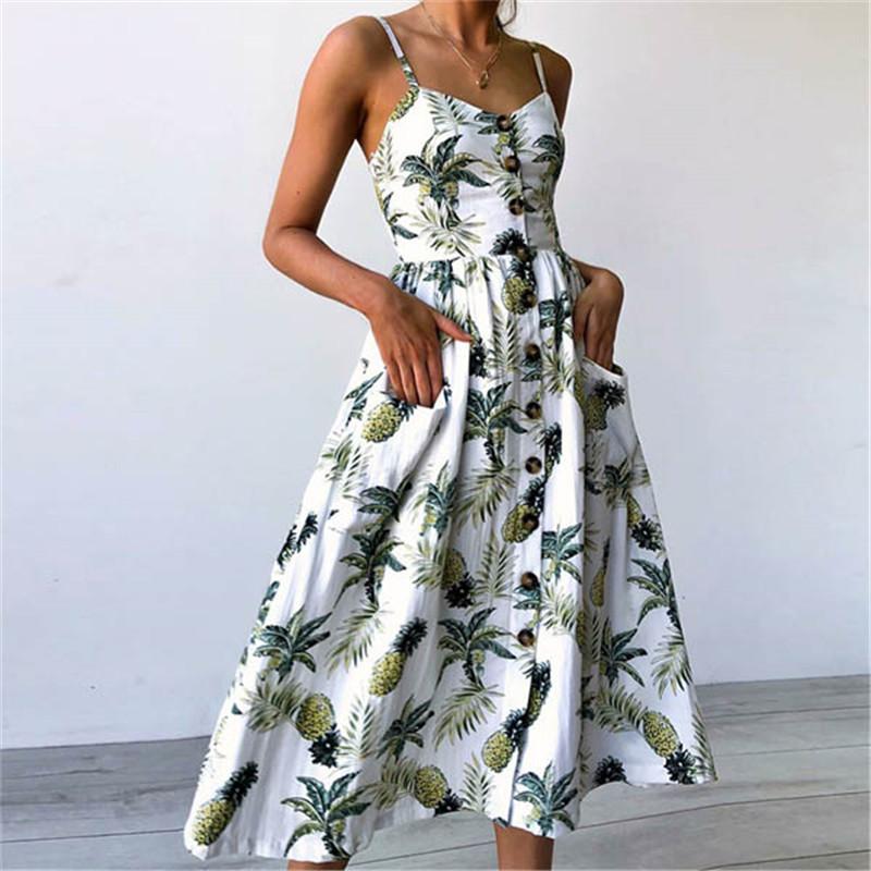 Summer Women Sexy Sling Print Pocket Halter Button Beach Dress 2021 Female Bohemia Holiday Midi Retro Lady Dresses Plus Size