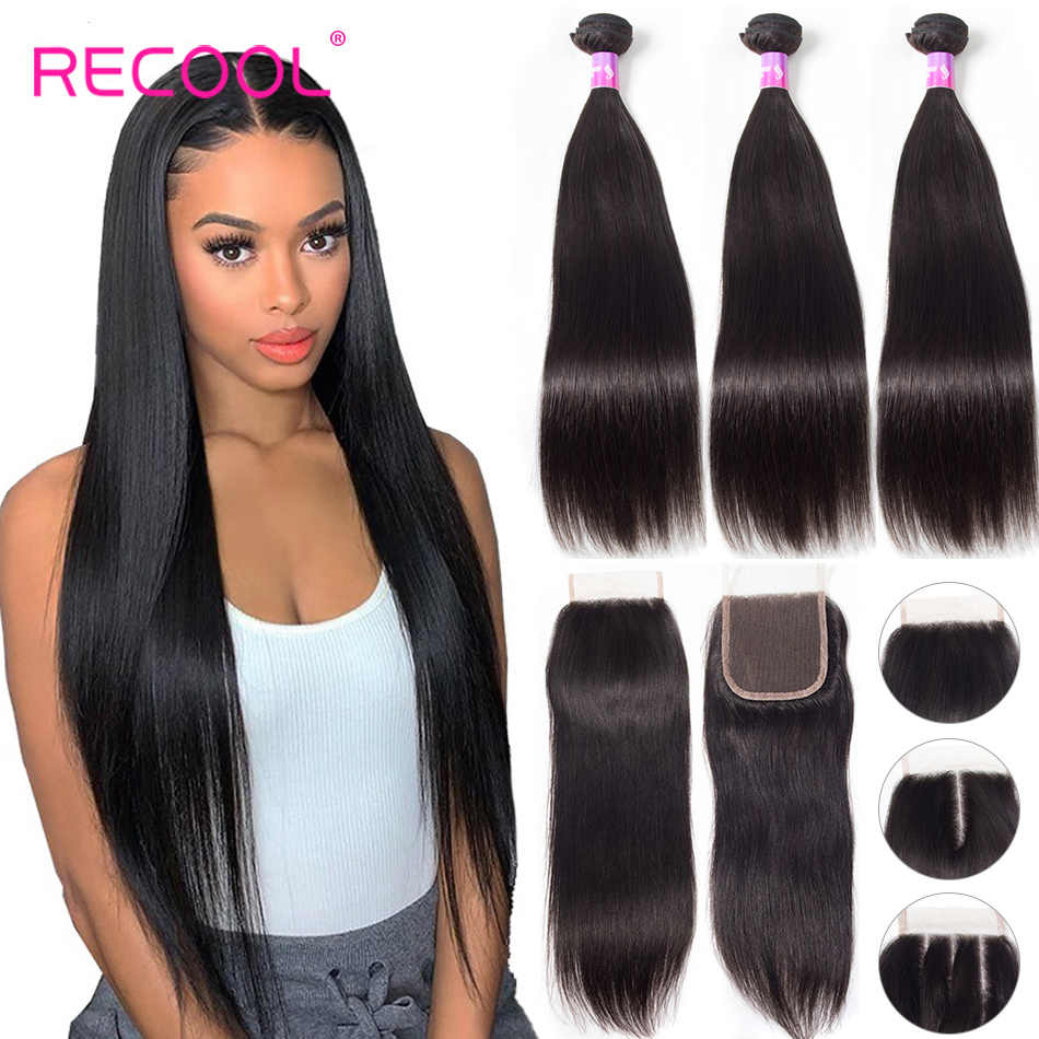 Recool Straight Hair Bundles With Closure Brazilian Hair Weave 3 Bundles With Closure 8 30 Inch Human Hair Bundles With Closure Hair Straight Hair Straight With Closurehair Brazilian Aliexpress