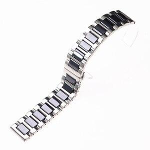 Image 3 - ステンレス鋼シルバーセラミック腕時計ブレスレットサムスンギアスポーツ腕時計ストラップギアs3 s2バンド銀河時計バンド20ミリメートル22ミリメートル