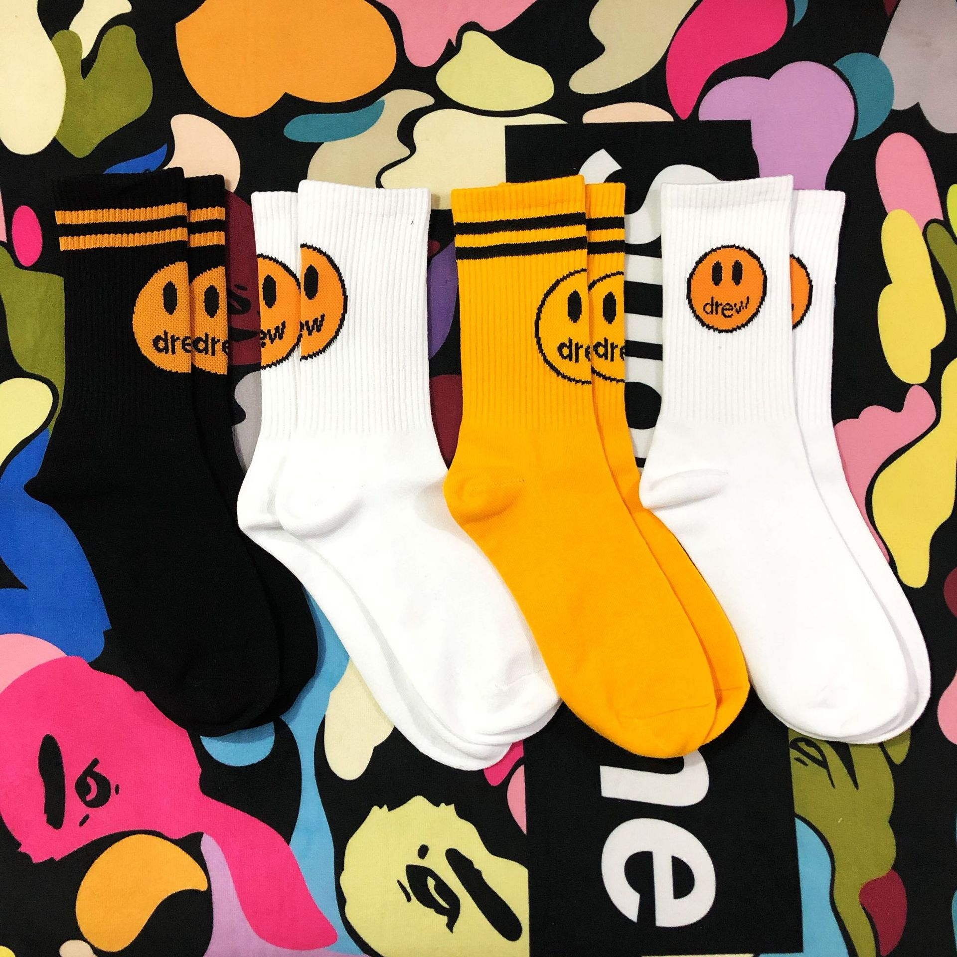 Dropshipping 2020 Adult Crew Drew House Justin Bieber Socks INS Street Fashion Hip Hop Mens Socks Funny Smile Soks Gifts For Men