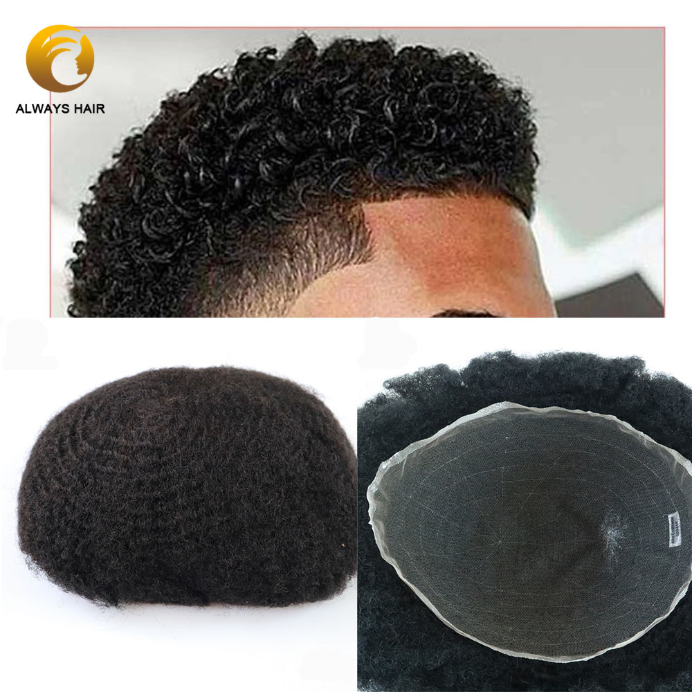 6mm French Lace Afro Toupees For Black Men Free Style 6 Inch 130% Density Indian Human Hair Wig Afro Men