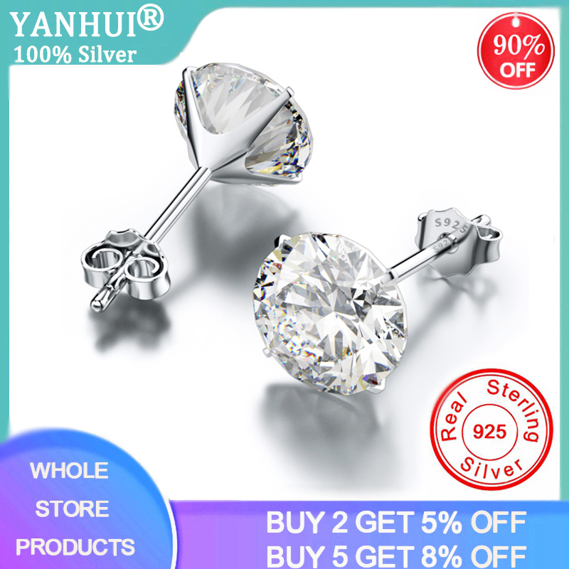 YANHUI Classic 925 Sterling Silver Cubic Zirconia Stud Earrings Small CZ Crystal Women Earrings For Wedding Party Mens Earrings