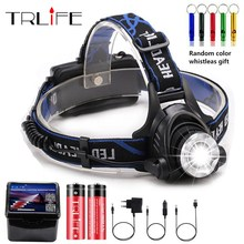 2000Lumens Headlight T6 headlamp CREE XML-T6 zoomable LED Head Lamp Rechargeable led head light+2x6000mah 18650 +AC/Car charger