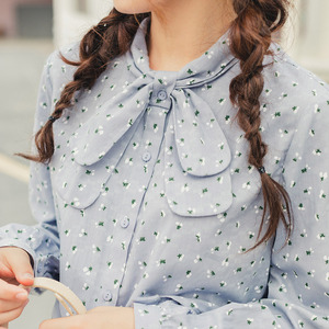 Image 4 - INMAN 2020 Spring New Arrival Literary Style Bow Tie Neck Single Breasted Loose Style Tighten Up Sleeve Lady Women Blouse