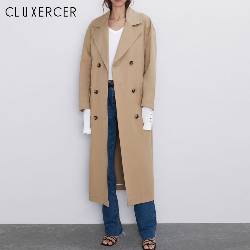 2019 Autumn New Women's Casual   trench   coat oversize Double Breasted Vintage Washed Outwear Loose Clothing