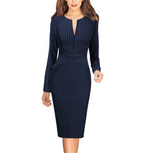 Vfemage Womens Rits Bloemen Gestreepte Herfst Winter Slanke Dragen Om Te Werken Business Office Party Schede Bodycon Pencil Dress 671(China)