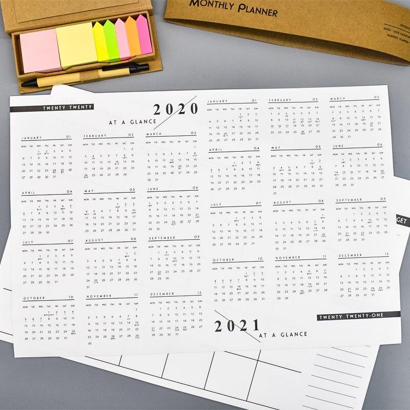 Coloffice 2020 12 Months Calendar Simple Plan A3 Note Paper Plan Agenda Work Study Memo Schedule,(12 PCs 2020 +1 PC 2021)/Set