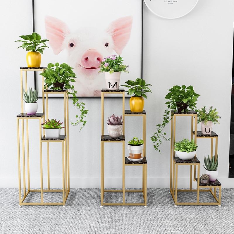 Nordic Metal Plant Stand Indoor Iron Flower Rack Creative Marble Garden Stand For Living Room Floor Flower Metal Shelf Balcony