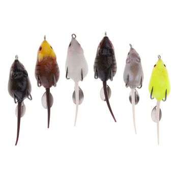 Mice Bait Frog Topwater Rat Lures Artificial Fishing Lure with Double Hooks for Bass Murray Cod Perch Snakehead image