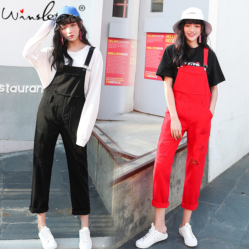 Black Red White Denim Overalls Preppy Style Teen Rompers Women Jumpsuit Holes No Stretchy Jeans Female Ropa Mujer D03102B