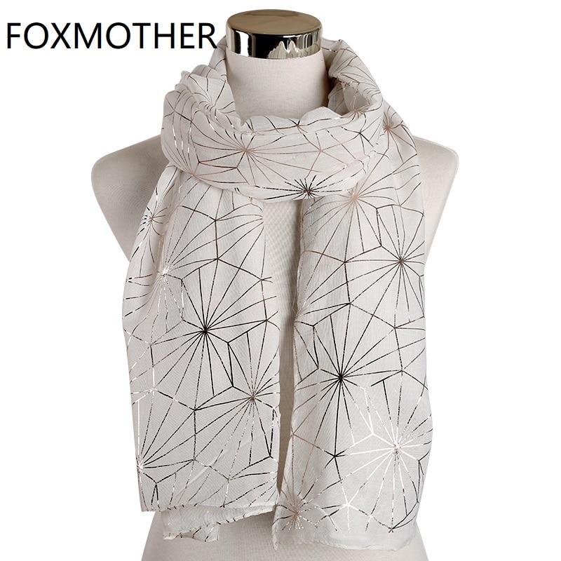 FOXMOTHER New Winter Black White Web Plaid Foil Gold Scarf Hijab Glitter Shawl Metallic Wrap Echarpe Pashmina Scarf Ladies 2019
