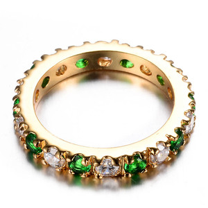 Image 4 - Bague Ringen כסף 925 טבעת עם 3MM זירקון אמרלד חן מקפץ רטרו מדהים קלאסי טבעת אישה Jewerly מתנה size5 9