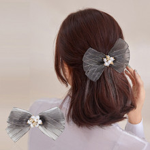 CHIMERA Gray Bow Hair Barrette Clip Large Mesh Bowknot Pearl Pins Clamp for Women Girls Korean Lace Headwear Accessories
