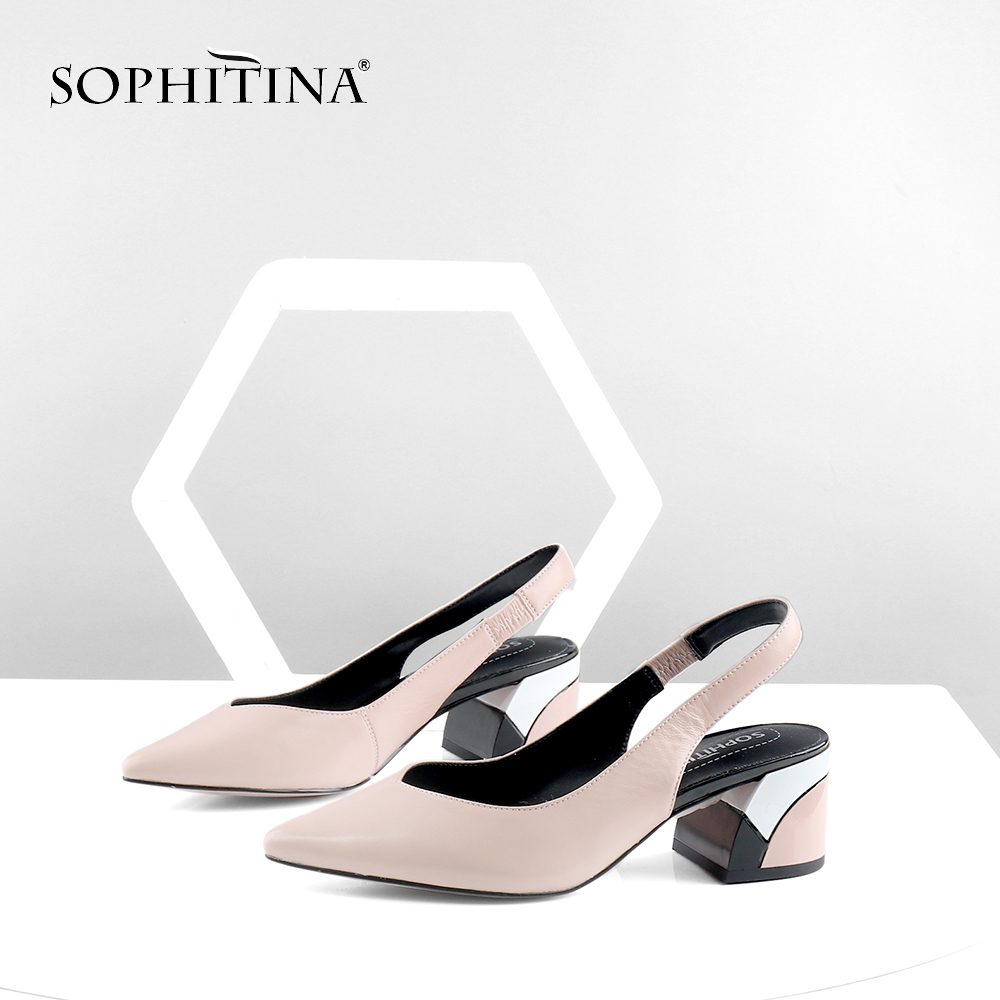 SOPHITINA Elegant Pink Sandals Back Strap Genuine Leather Square Med Heel Pointed Toe Women Shoes Stylish Shallow Sandals C380