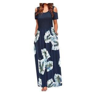 Женское платье, летнее модное платье с открытыми плечами и цветочным принтом, Элегантное Длинное Платье Макси, Повседневное платье с карманами, пляжный сарафан, M140 #
