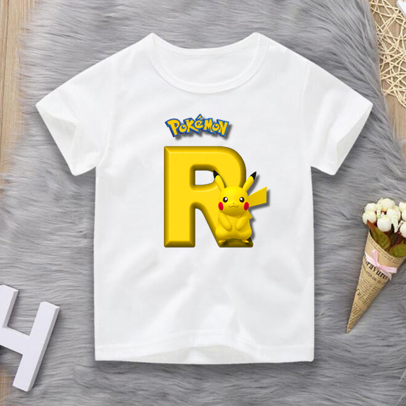 New Boys and Girls Name Pokemon Go Pikachu Tshirt Printing Children Summer Parent-child Clothes Birthday Gift Digital T-shirt image