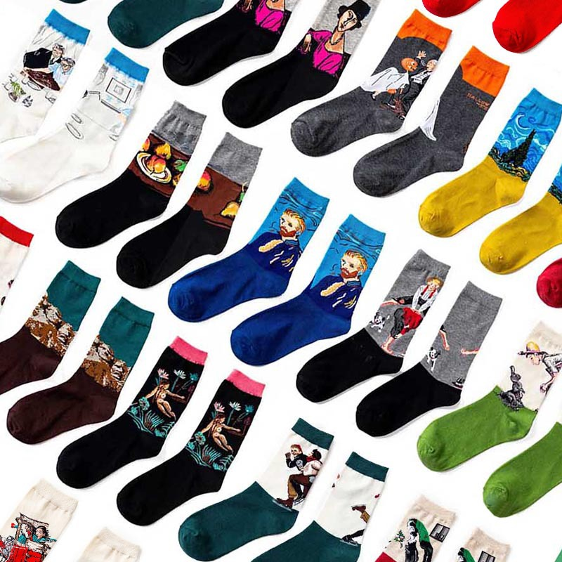 New Product Sunset Autumn Winter Retro Women Personality Art Van Gogh Mural World Famous Painting Male Socks Oil Funny Socks