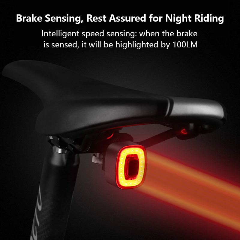 Bicycle Smart Auto Brake Sensing Light IP65 Waterproof LED Charging Cycling Taillight Bike Rear Warning Light Accessories