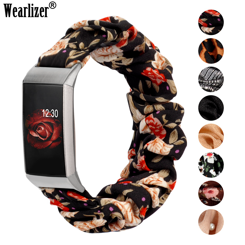 Fabric Scrunchie Strap For Fitbit Charge 4 Women Fashion Elastic Strap Replacement Bracelet Accessories Band For Charge 3